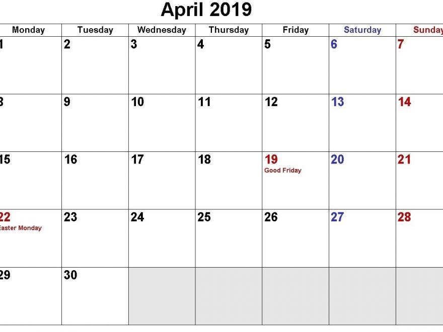 April 2019 USA Holidays Calendar