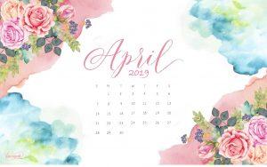 April 2019 Watercolor Horizontal Calendar