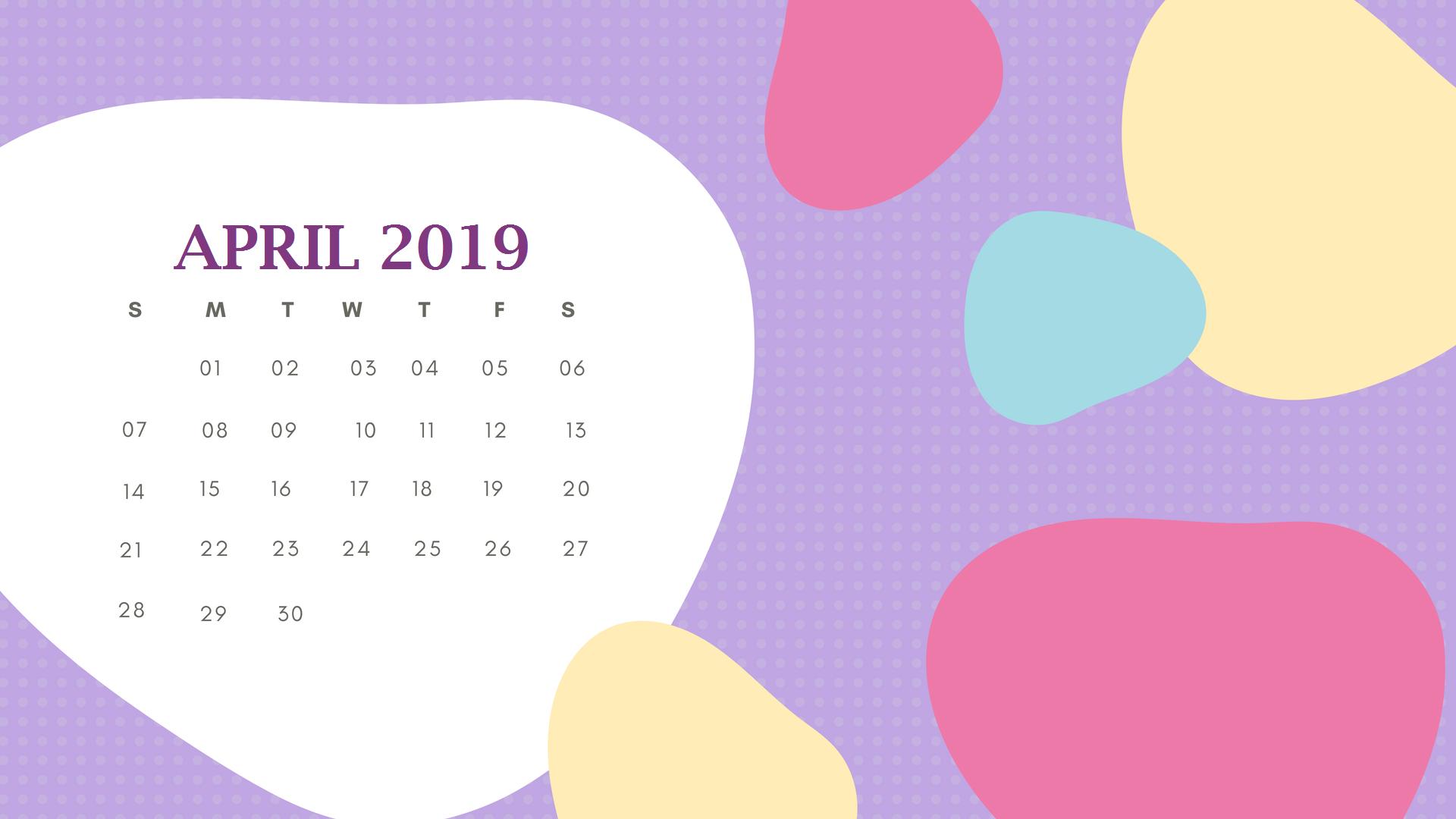 Beautiful April 2019 Calendar Template