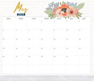 Beautiful May 2019 Printable Calendar