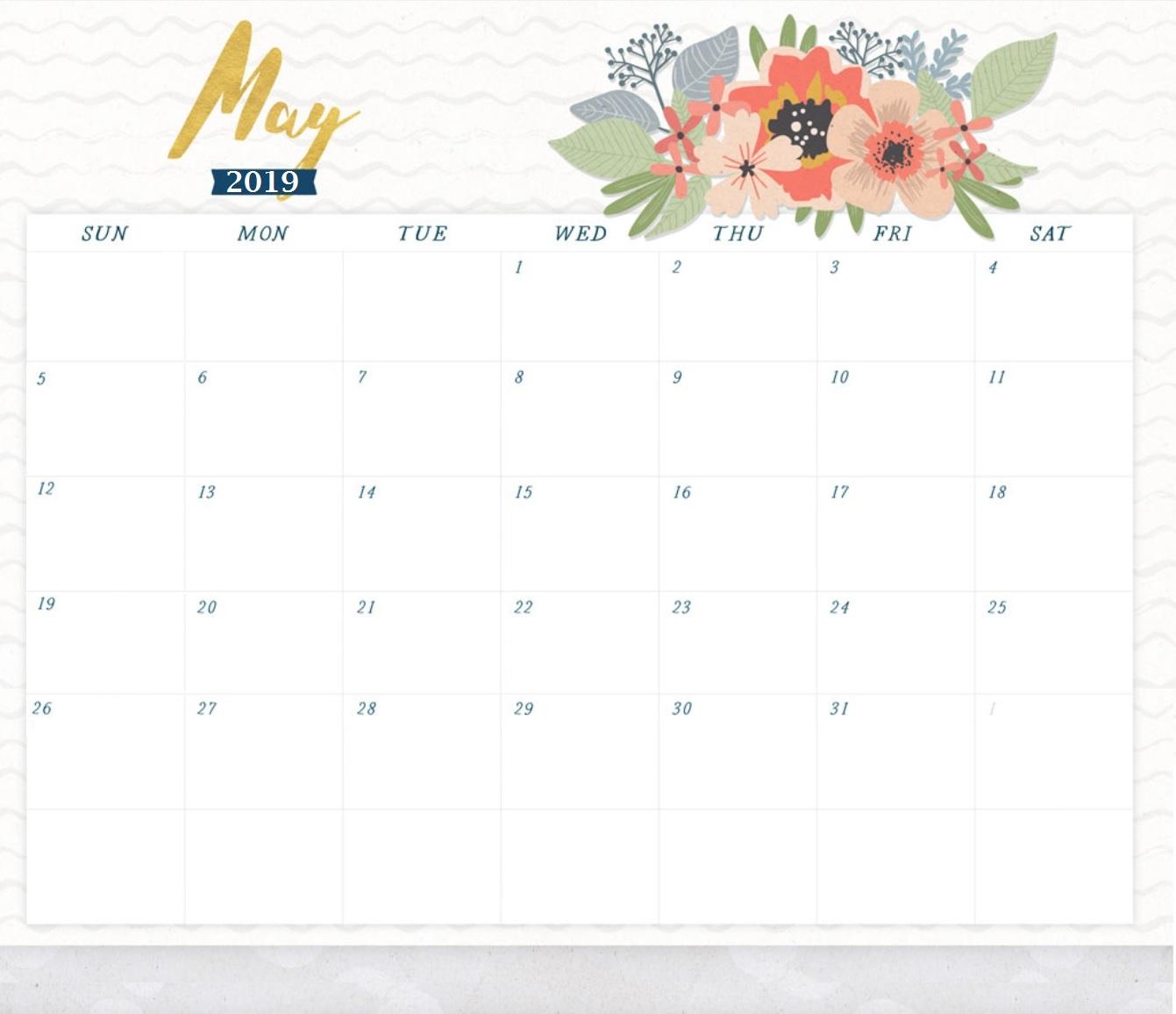 Beautiful May 2019 Printable Calendar