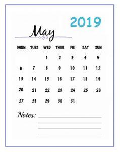 Best May 2019 Calendar Template