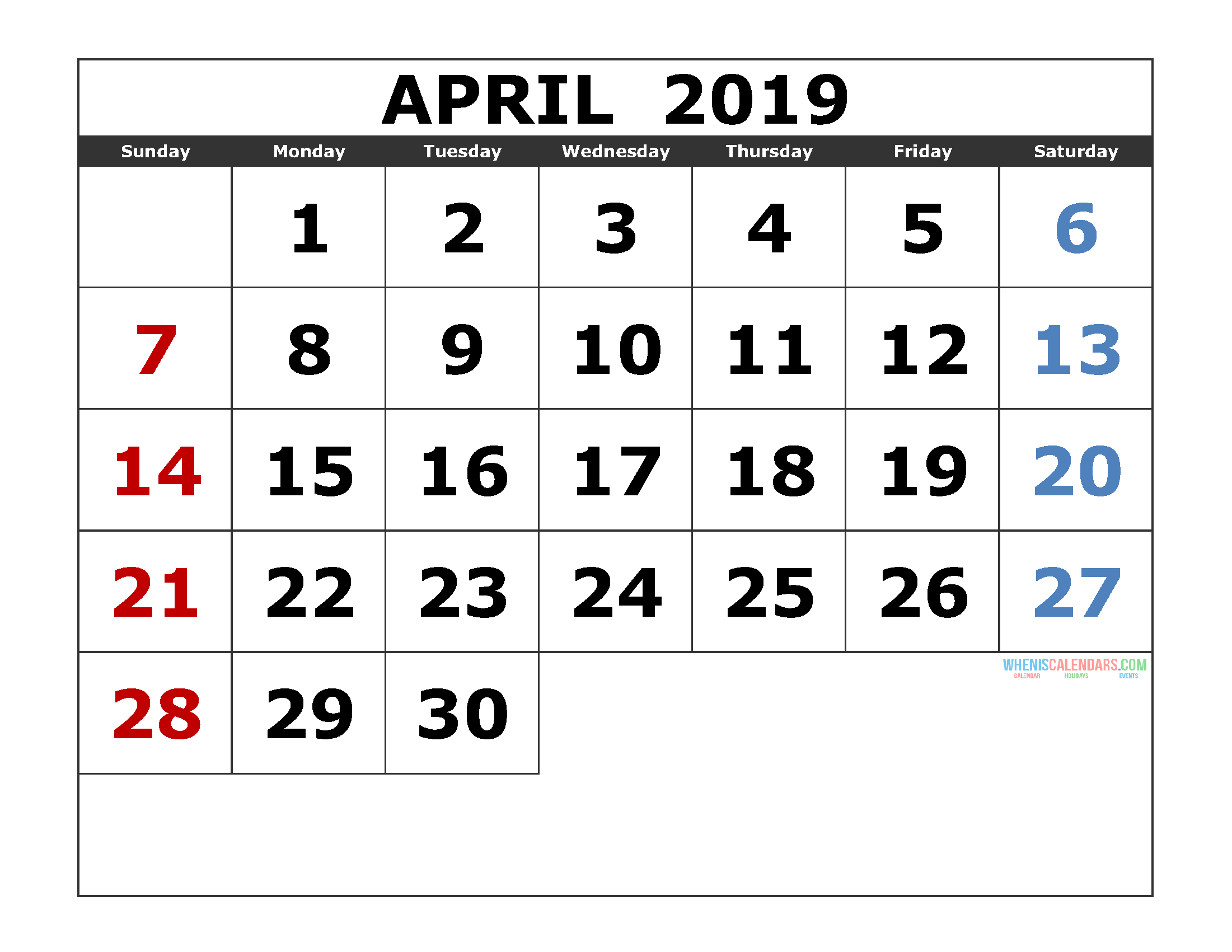 Calendar April 2019 Printable Template