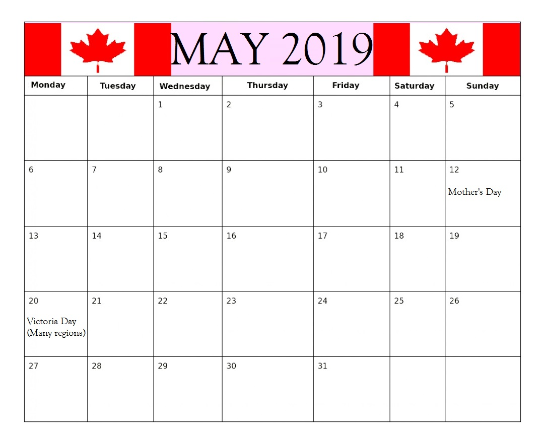 Canada May 2019 Holidays Calendar