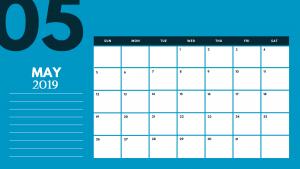 Cute 2019 May Calendar Template