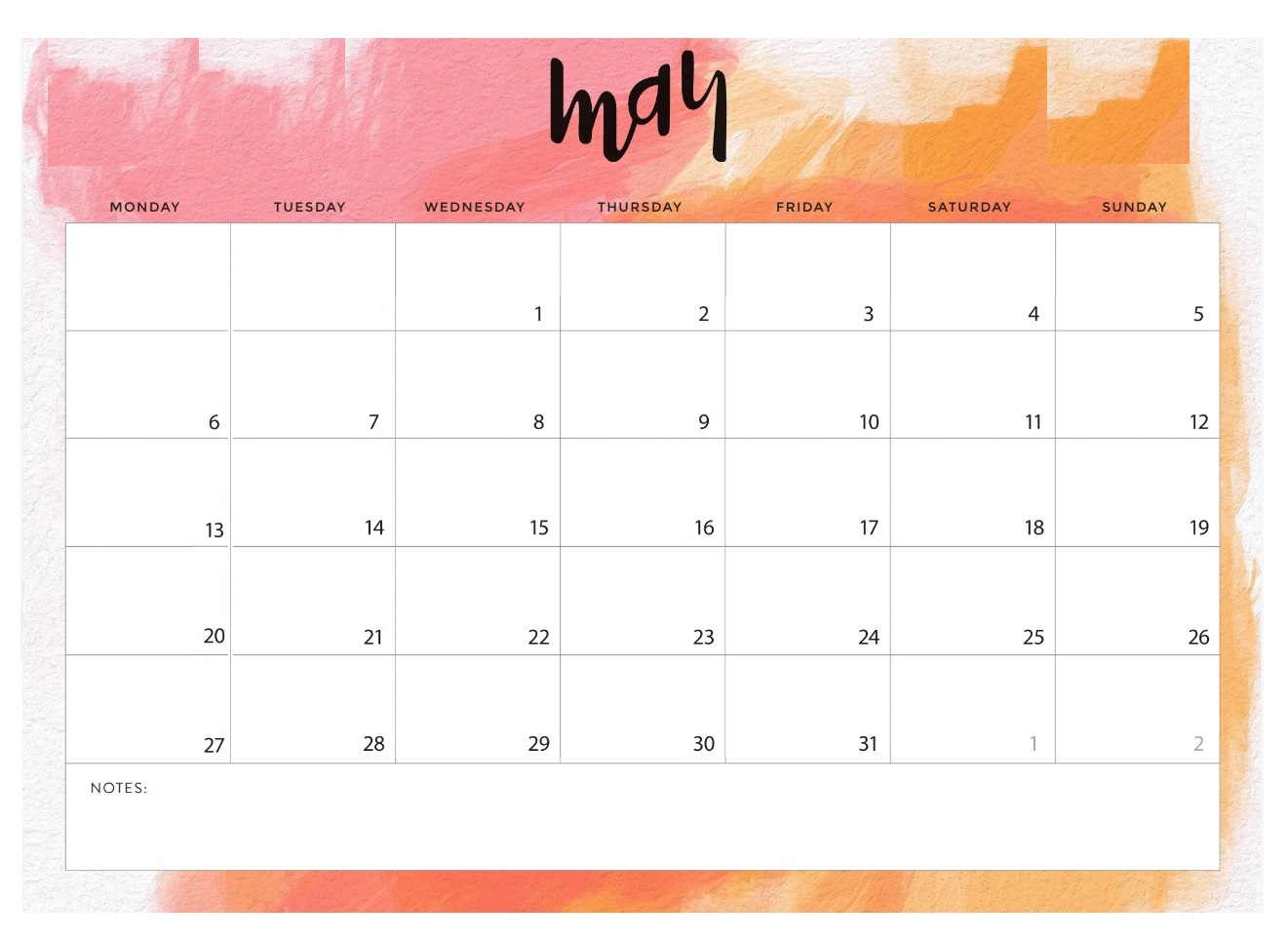 Cute May 2019 Blank Calendar