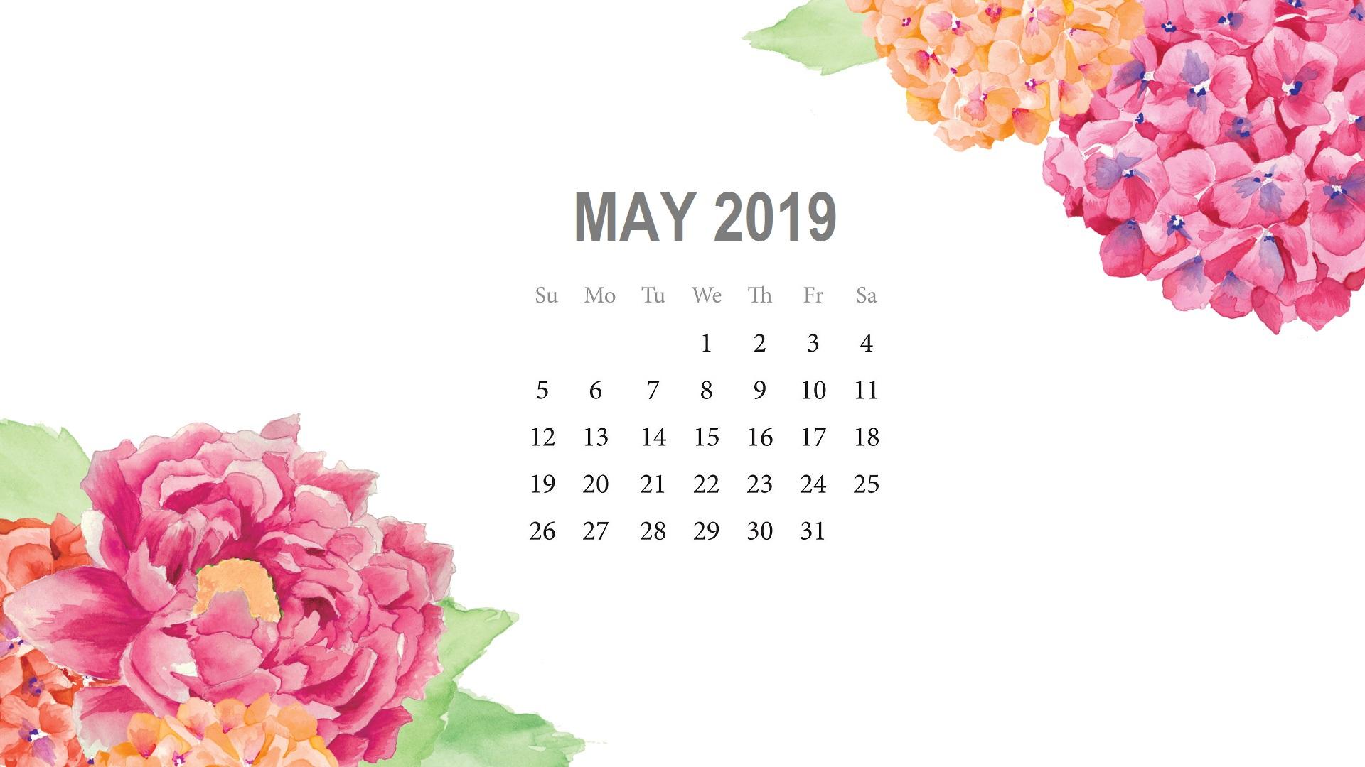 Cute May 2019 Watercolor Calendar