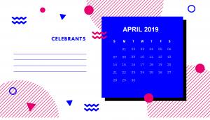 Cute Stylish April 2019 Calendar