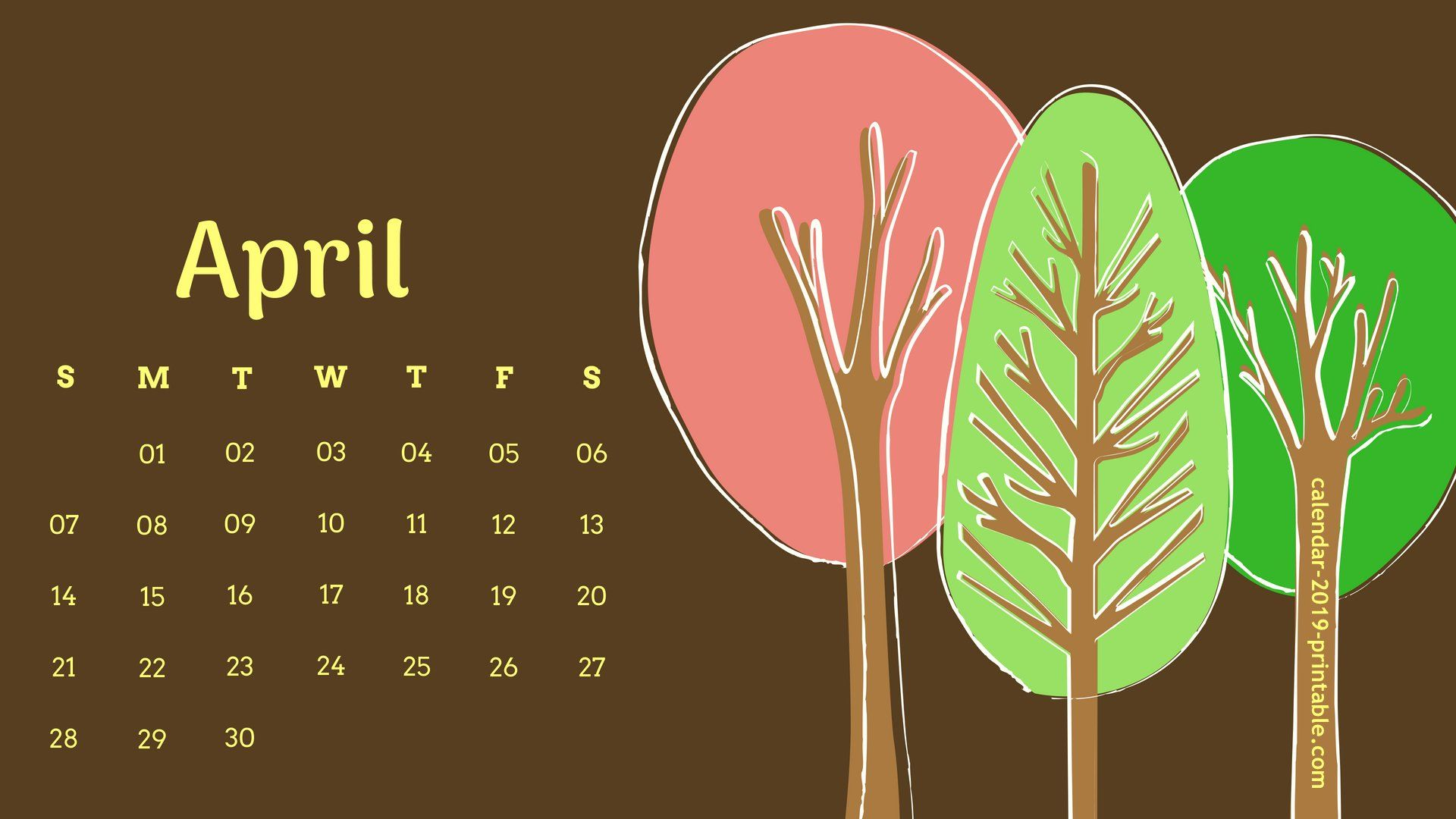 Desktop Calendar For April 2019