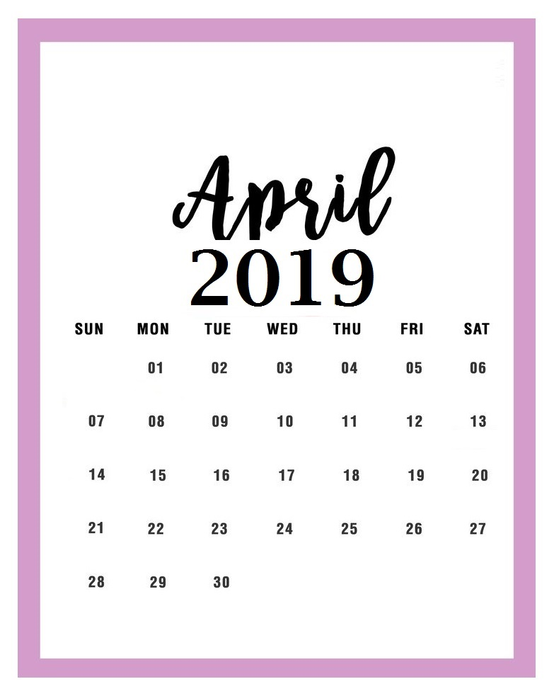 Free April 2019 Calendar Cute