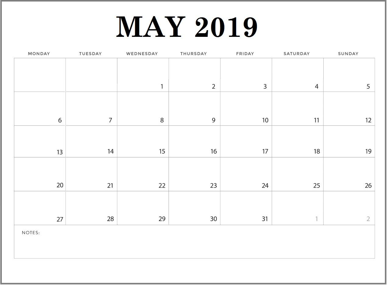 Free May 2019 Blank Calendar Print