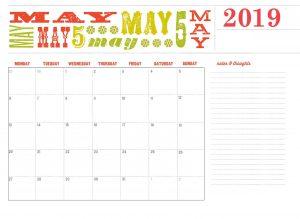 Free May 2019 Calendar Designs
