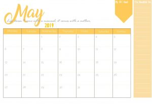 Latest May 2019 Calendar Template