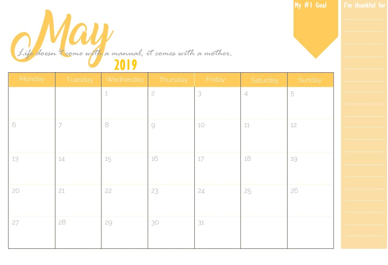 Latest May 2019 Calendar Template