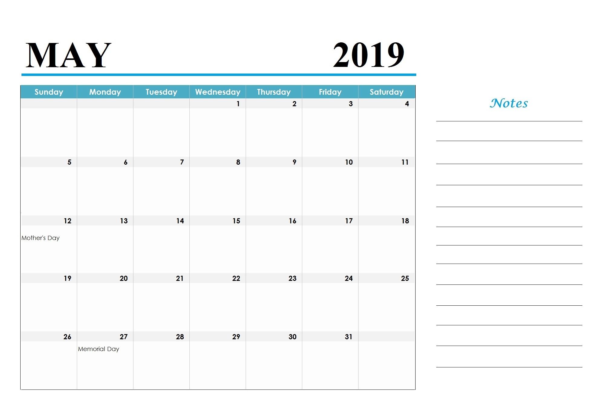 May 2019 Blank Calendar Template