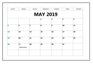May 2019 Blank Template