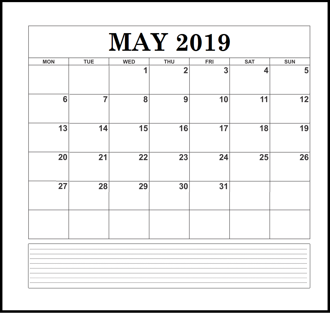 May 2019 Blank Template with Notes