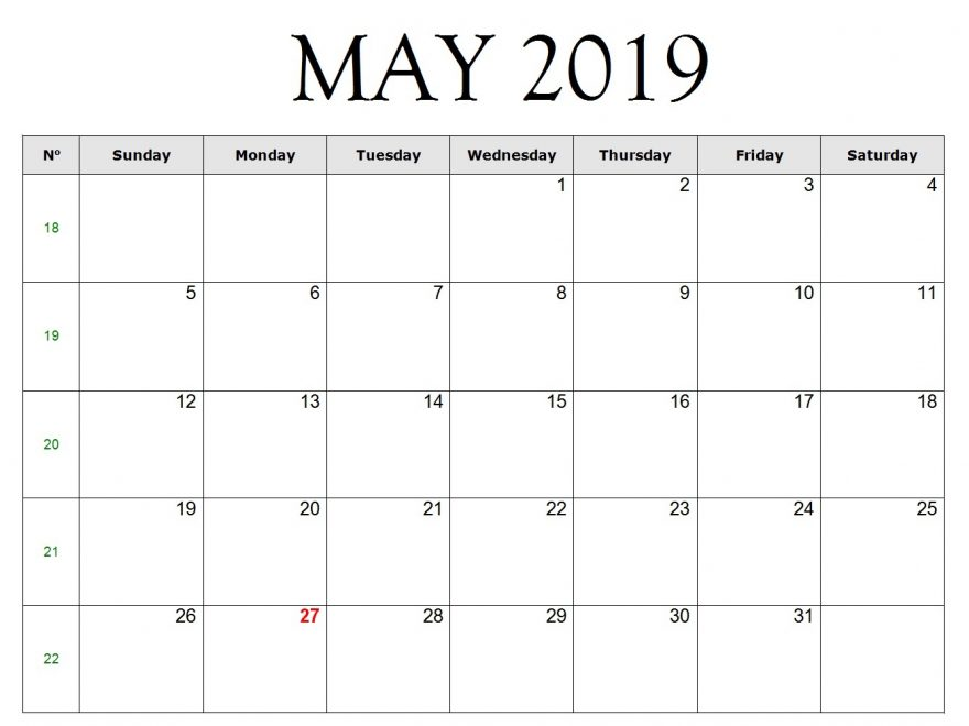 May 2019 Calendar Excel