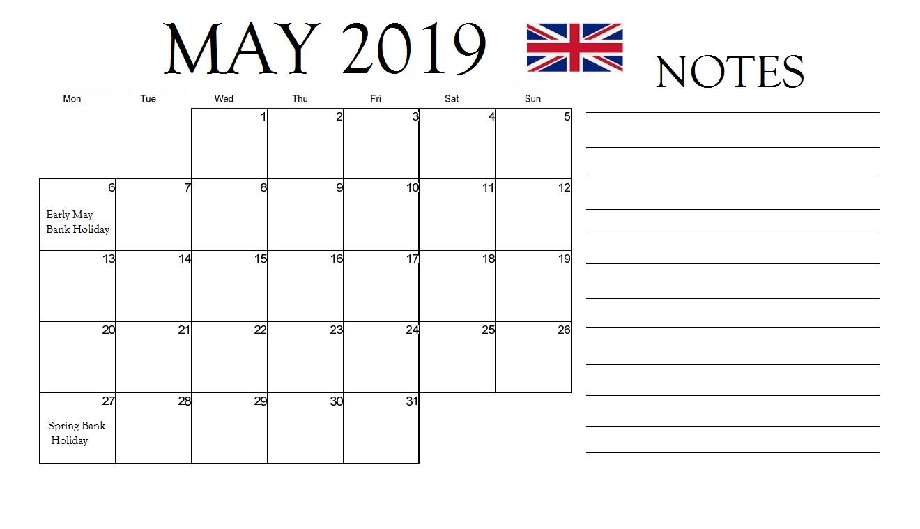 May 2019 Calendar UK