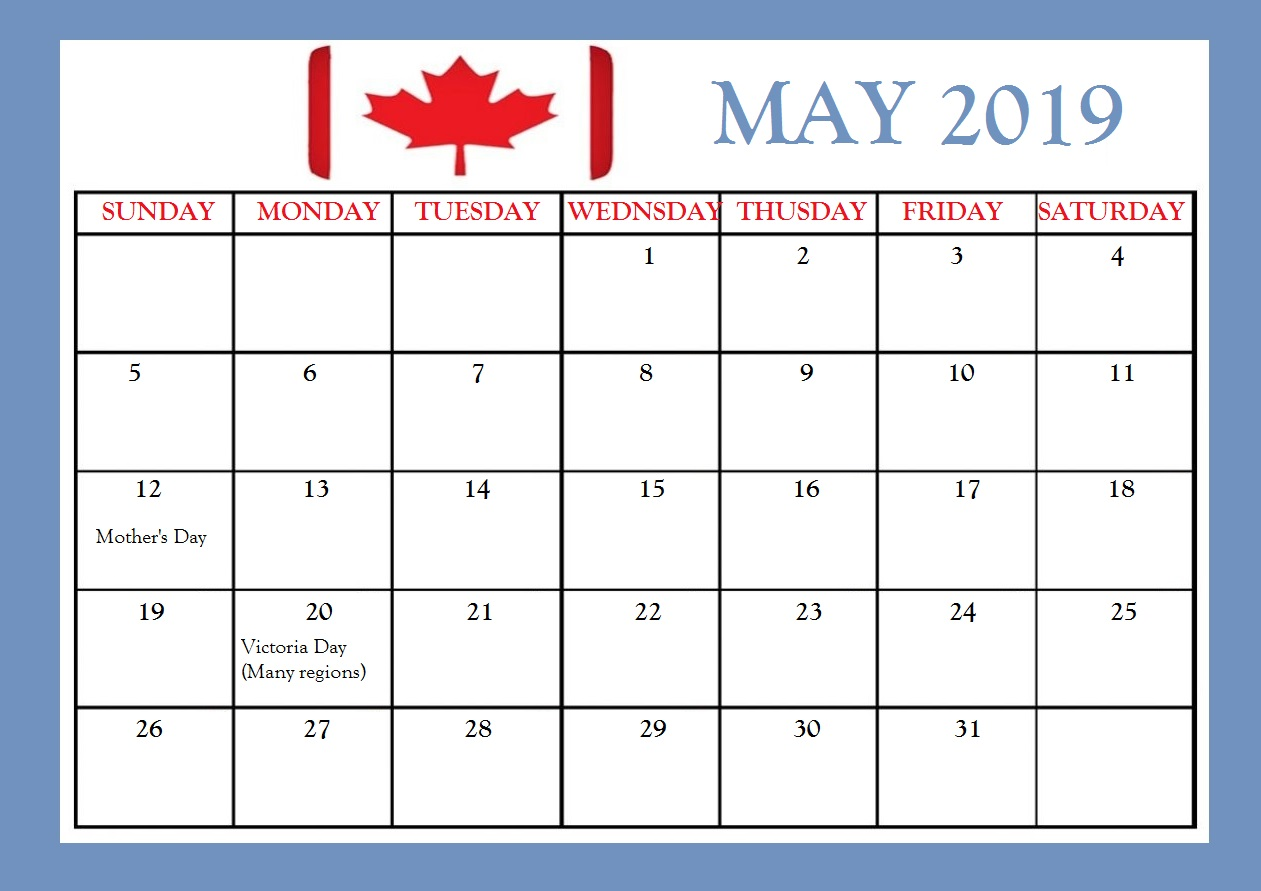 May 2019 Canada Holidays Calendar