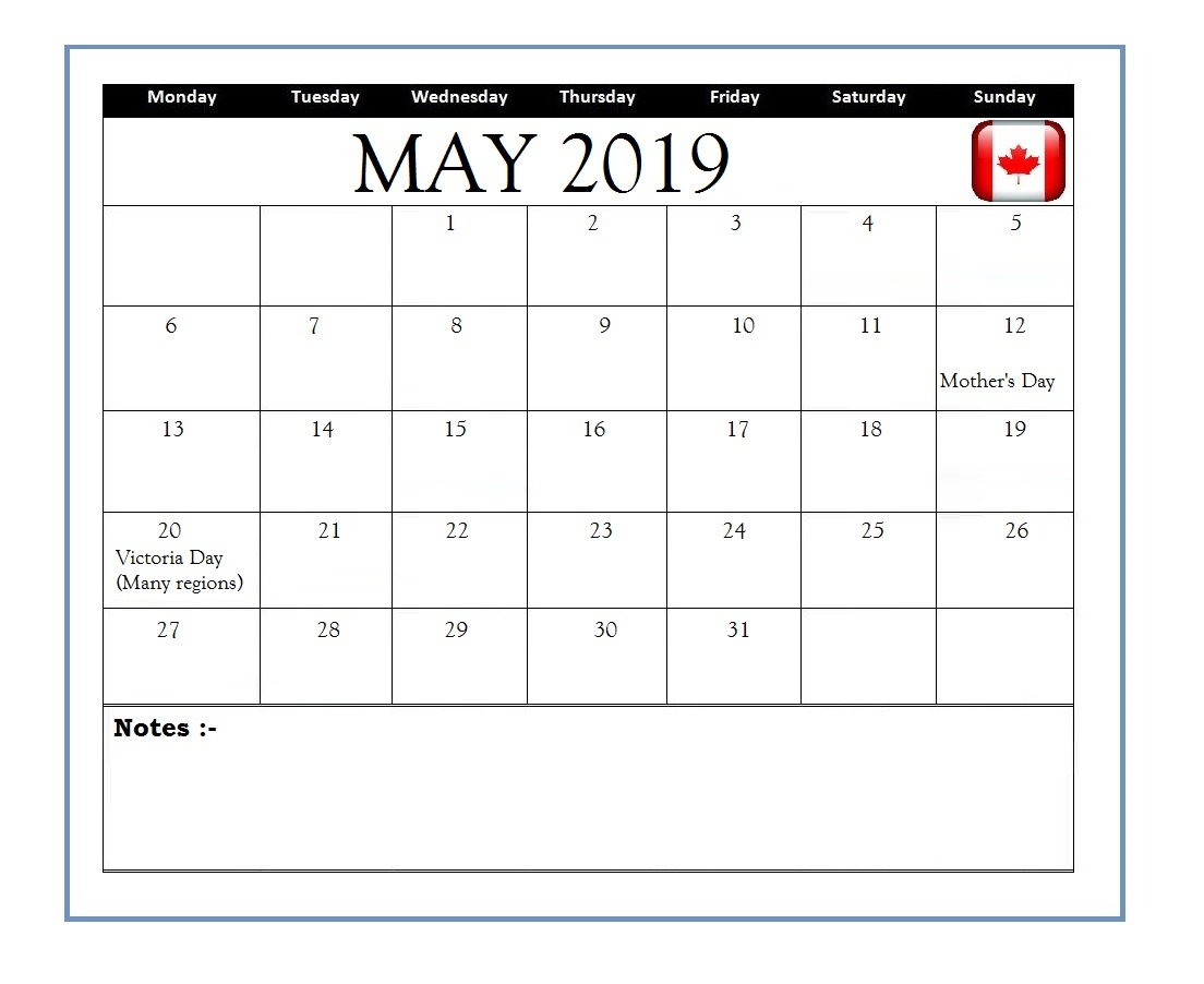 May 2019 Holidays Calendar For Canada