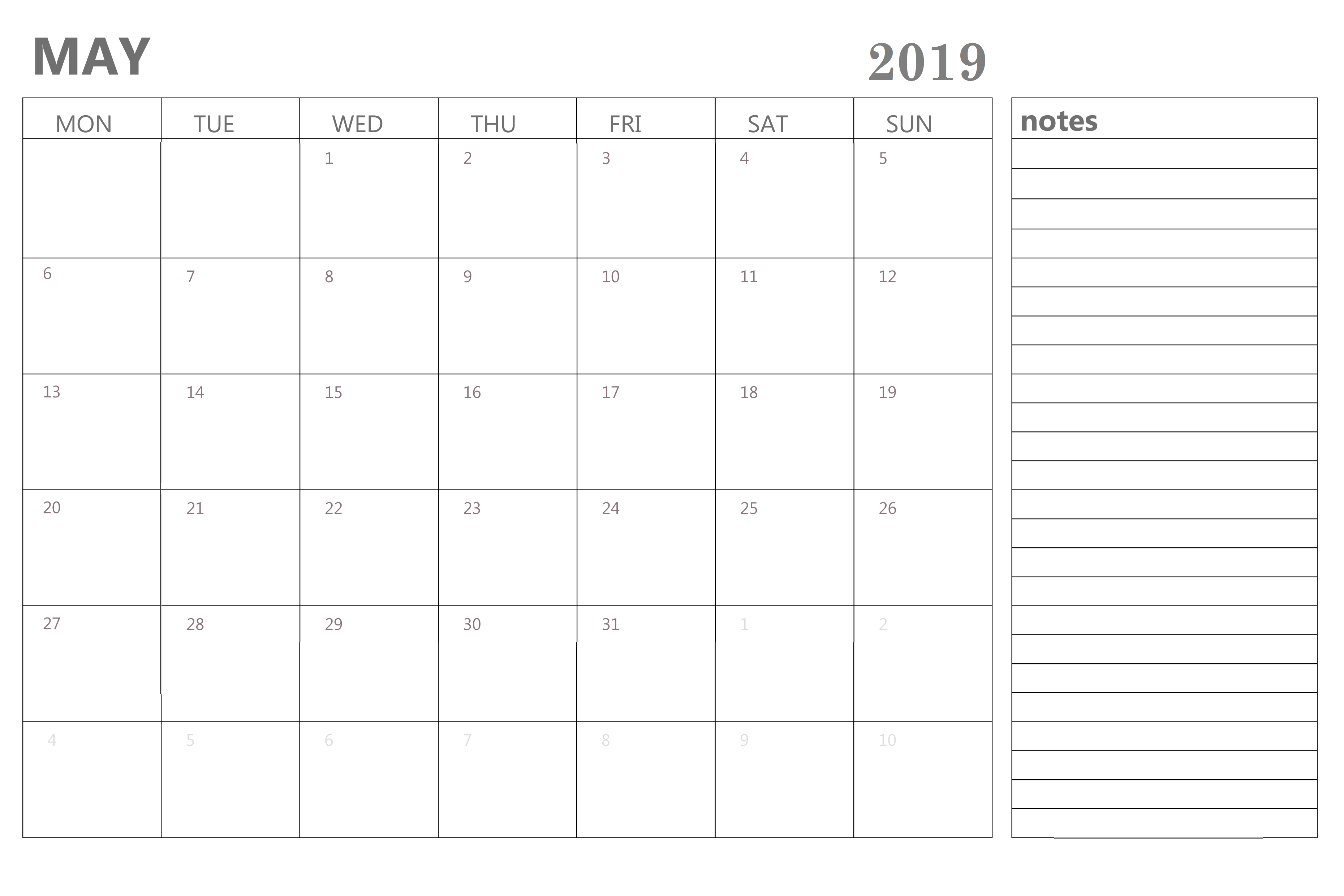 May 2019 Planner with Notes
