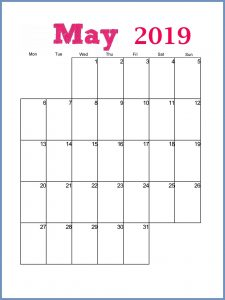 May 2019 Printable Calendar Design