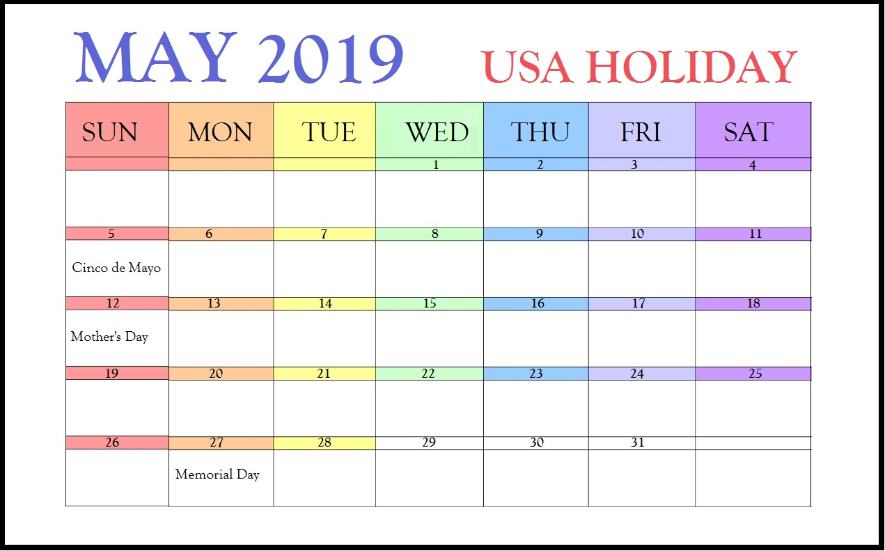 May 2019 Public Holidays Calendar the USA