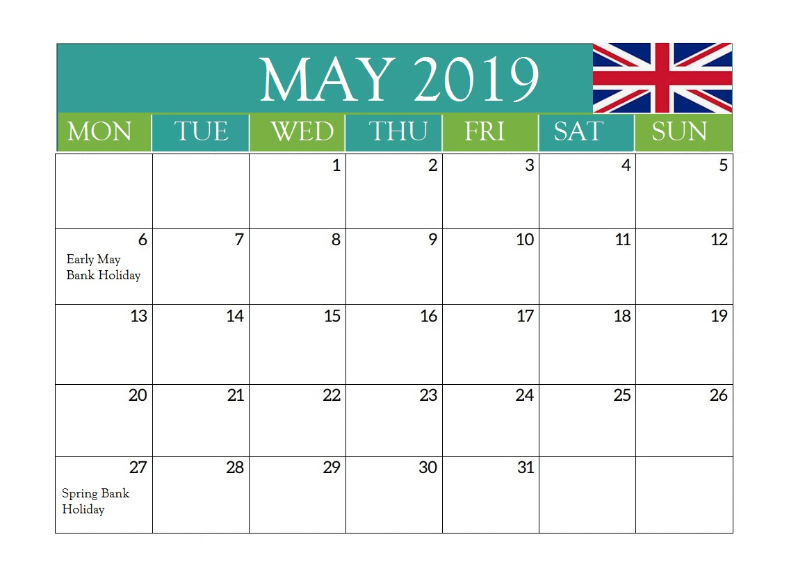 May 2019 UK Holidays Calendar