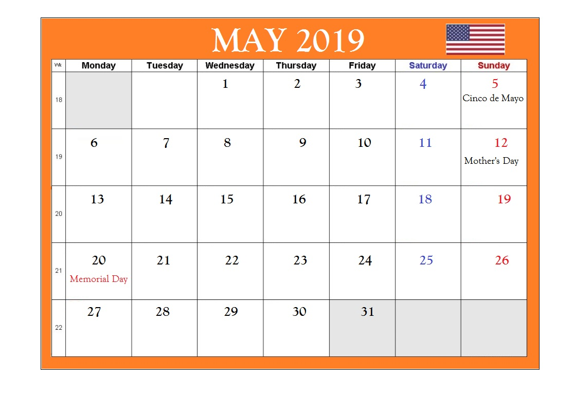 May 2019 USA Holidays Calendar
