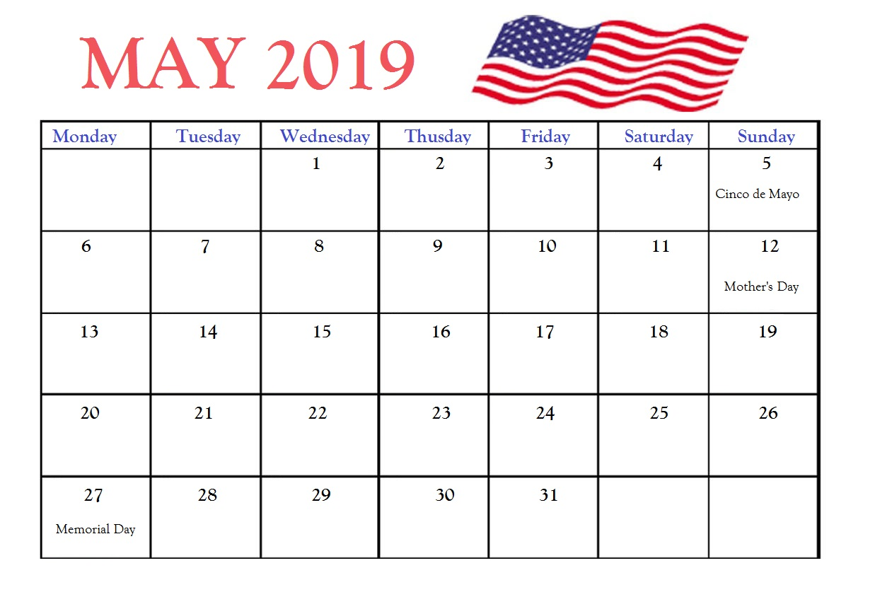 May 2019 United States Holidays Calendar