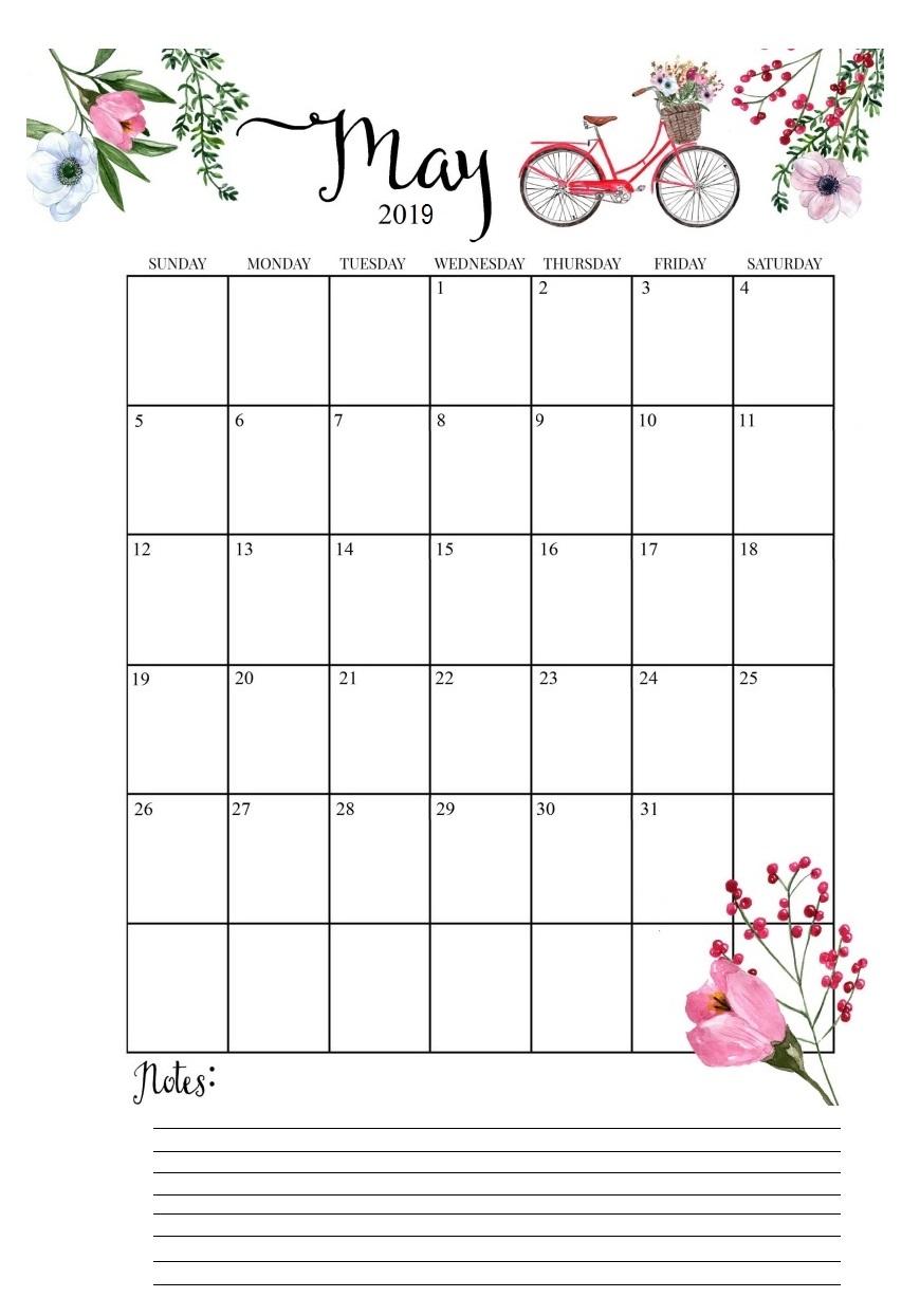 May 2019 Vertical Calendar Design