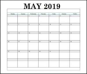 May 2019 Weekly Blank Calendar