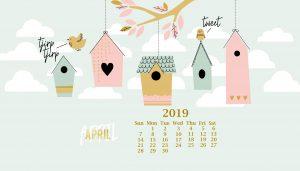 Print Cute April 2019 Calendar