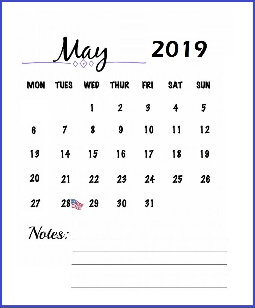 Print May 2019 Calendar Free