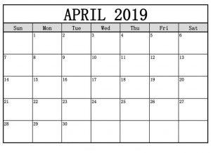 Printable Calendar April 2019 Free