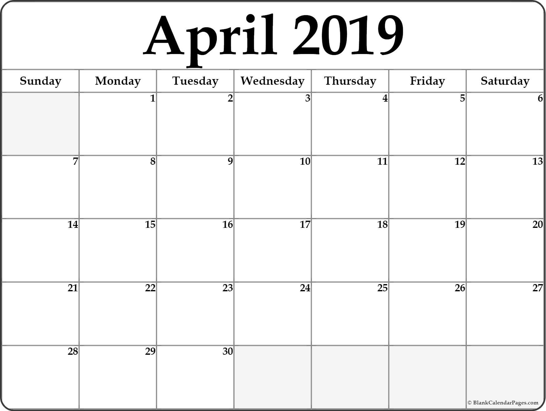 Printable Calendar April 2019 Landscape