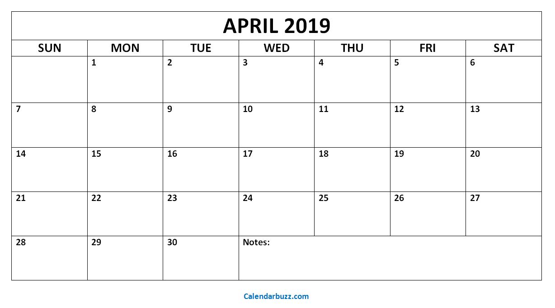 Printable Calendar April 2019