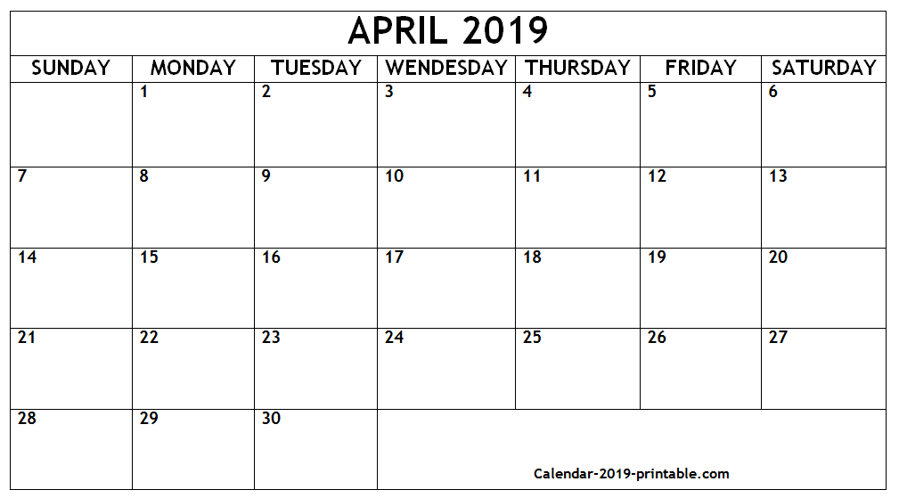 Printable Calendar Template April 2019