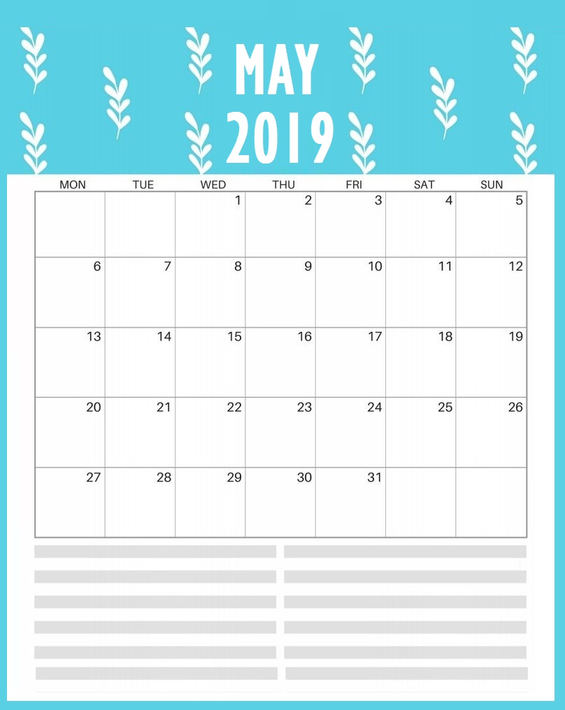 Printable May 2019 Template Calendar