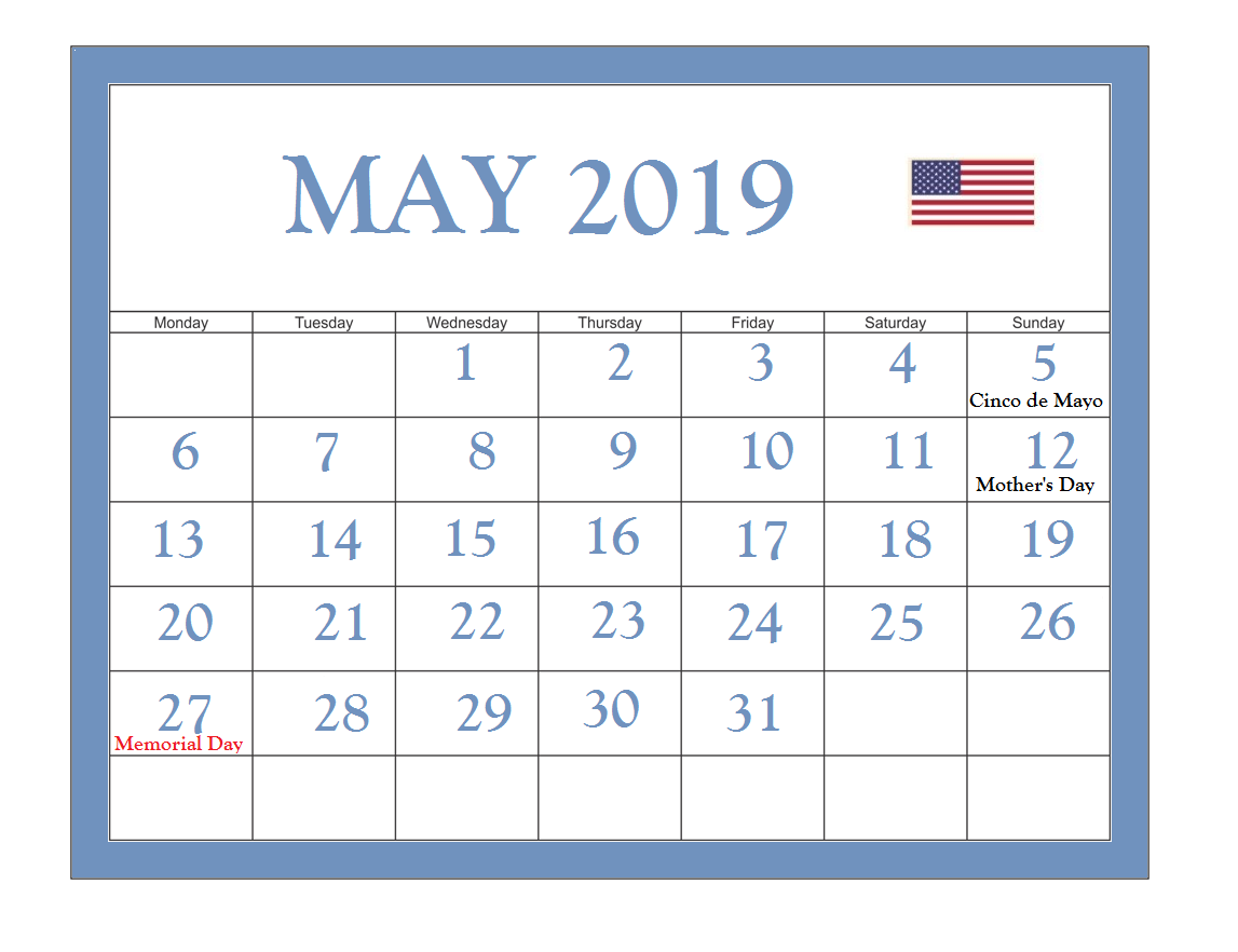 Printable May 2019 USA Holidays Calendar