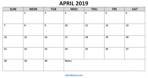 Printable Monthly Calendar April 2019
