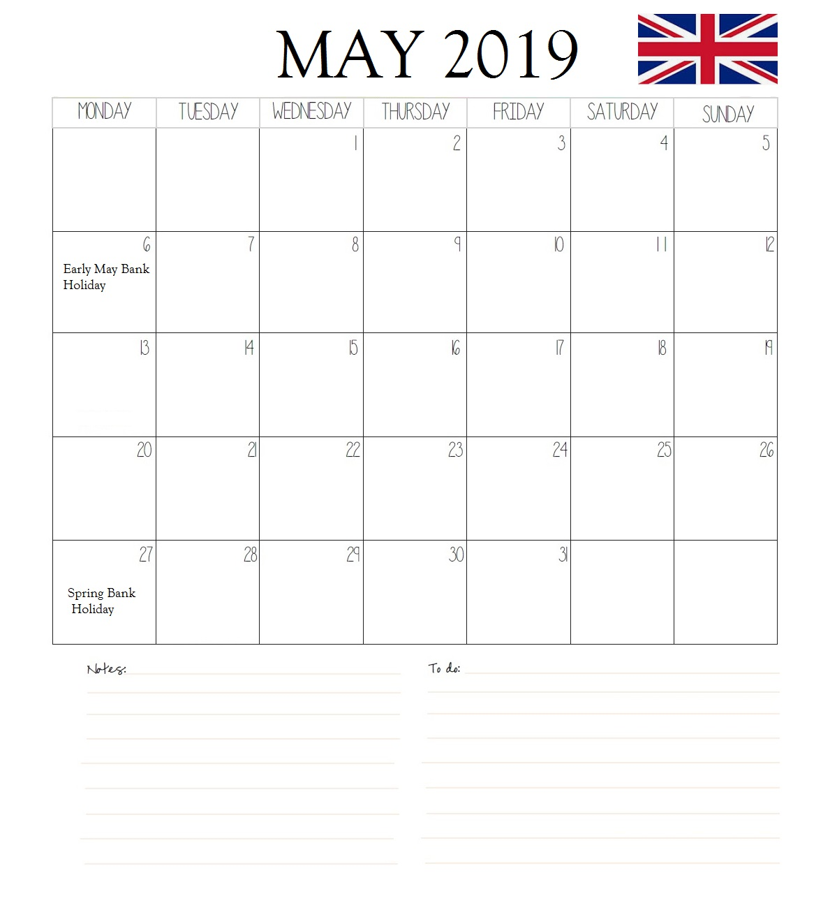 The United Kingdom May 2019 Holidays Calendar