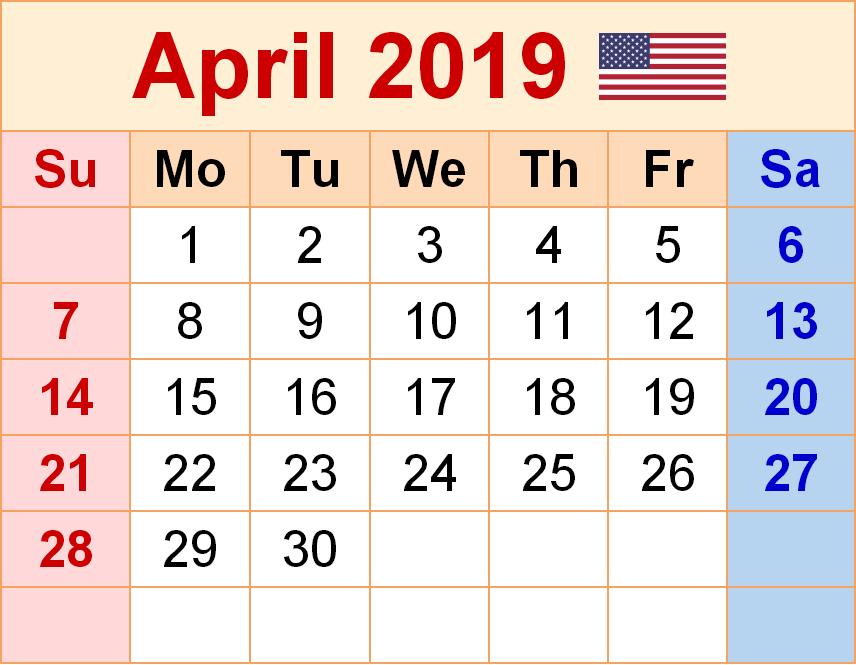 USA Calendar For April 2019