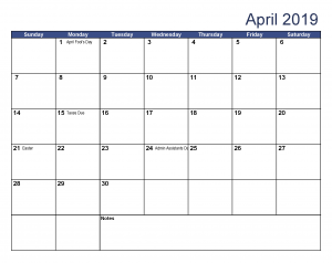 USA Holidays Calendar April 2019