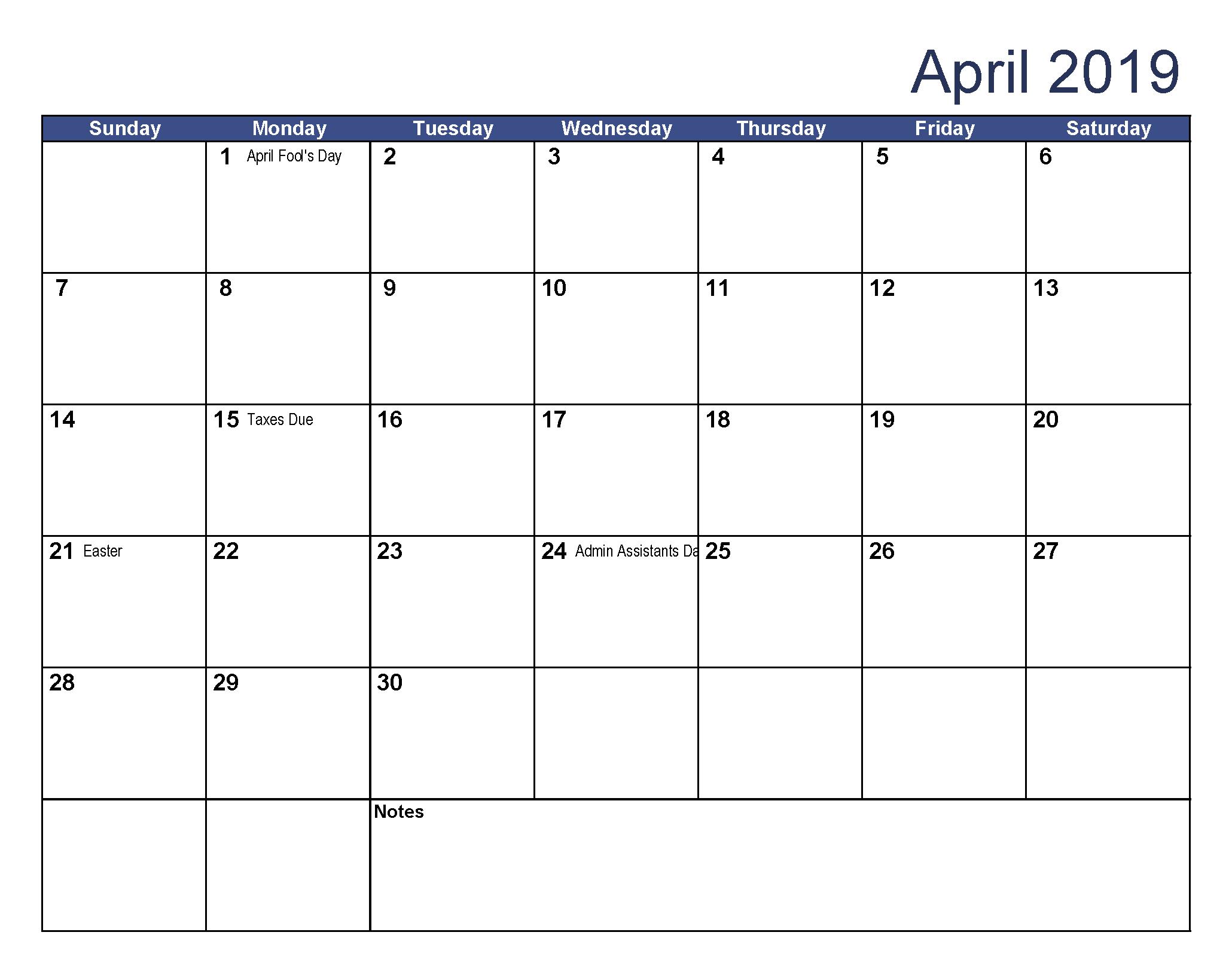 USA Holidays Calendar April 2019