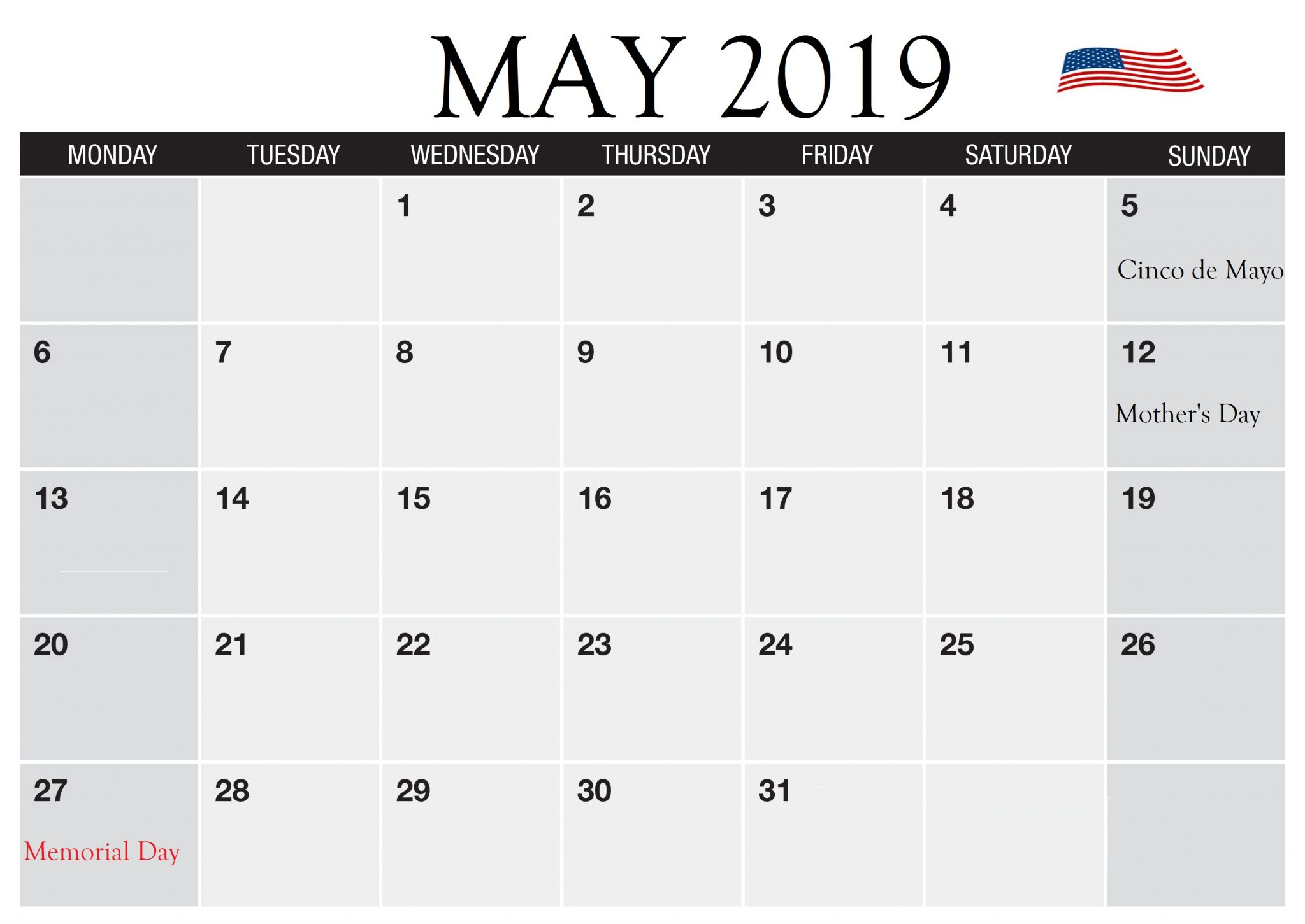USA May 2019 Federal Holidays Calendar