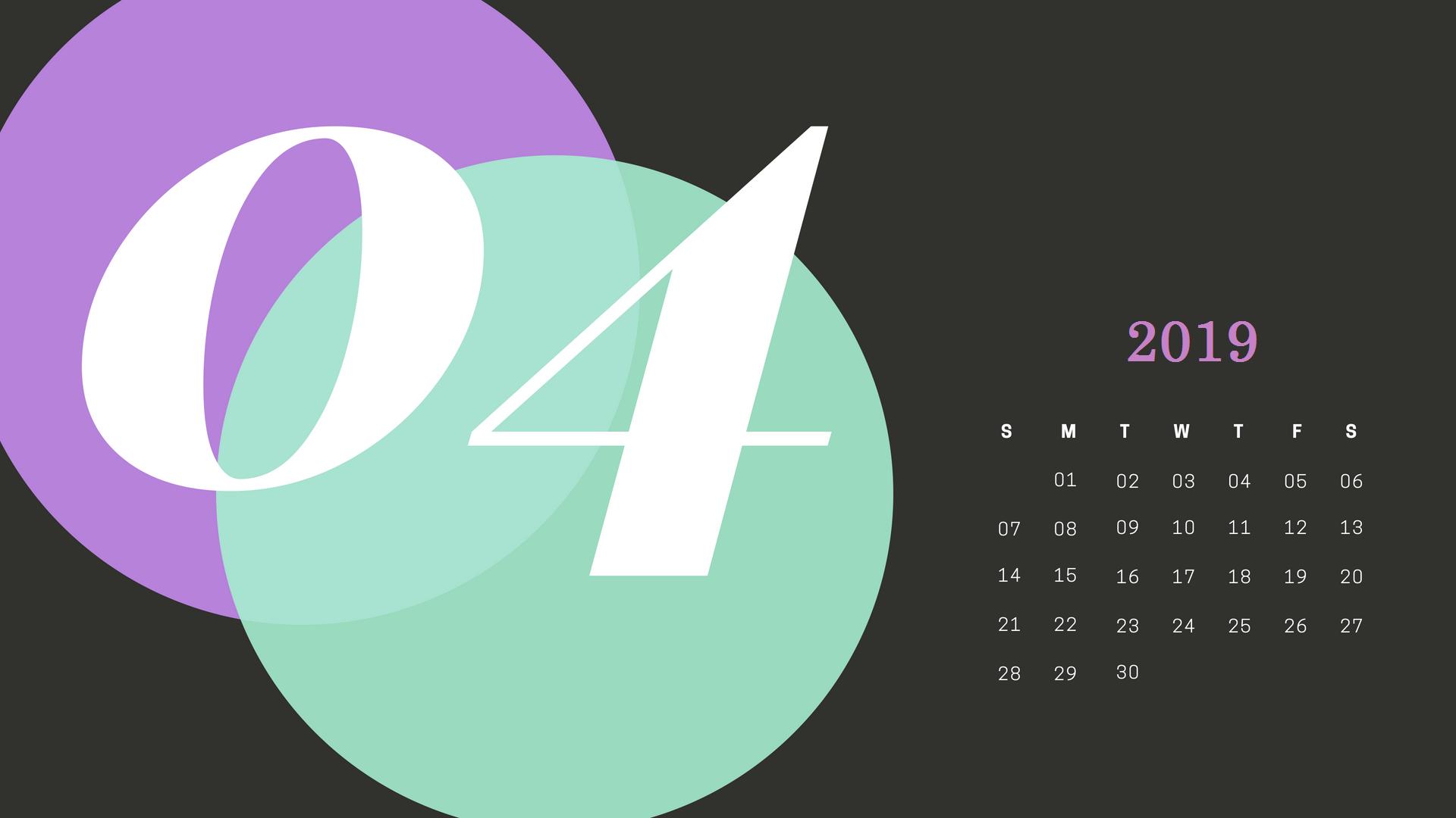 Unique April 2019 Calendar Design