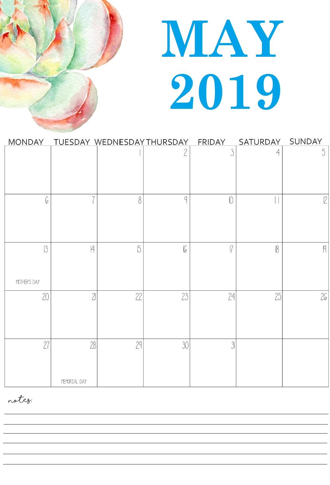 Unique May 2019 Calendar