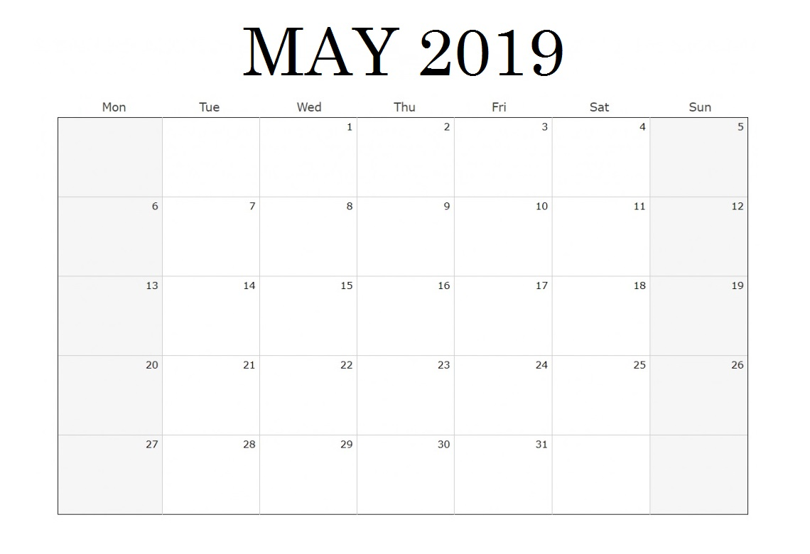 Waterproof May 2019 Blank Calendar
